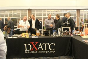 Dixie Applied Technology College table at the 2016 What's Up Down South Economic Summit. They were a part of a spotlight on tech-based businesses at the summit. The DXATC also had a groundbreaking for its new campus at the Ridge Top Complex later that day, St. George, Utah, Jan. 14, 2016 | Photo by Mori Kessler, St. George News