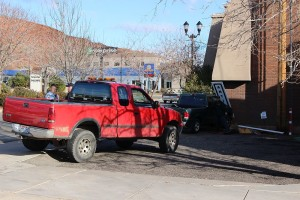 An F-150 pickup truck rear-ended a Ranger compact pickup Friday afternoon, pushing the Ranger into a brick wall, St. George, Utah, Jan. 8, 2016 | Photo by Ric Wayman, St. George News