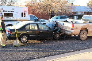 An accident on Tabernacle Street Thursday was caused by windows that had not been cleared of frost, St. George, Utah, Jan. 14, 2016 | Photo by Ric Wayman, St. George News