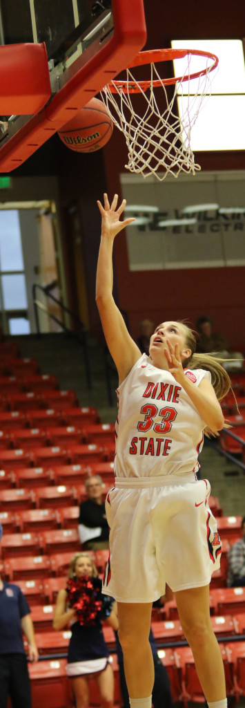 Dixie State's  Taylor Mann (33), Dixie State University vs Hawai'i Pacific, Women's Basketball, St George, Utah, Jan.  30, 2016, | Photo by Kevin Luthy, St. George News