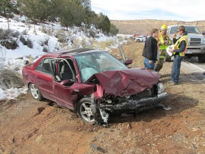 Two cars collided head-on Wednesday on SR-59, but thanks to seat belts, no one was injured. Apple Valley, Utah, Jan. 13, 2016   Photo courtesy of Trooper Jesse Williams, Utah Highway Patrol, St. George News