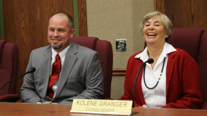 (R-L) Newly elected Washington City Council members Kolene Granger and Troy Belliston, Washington City, Utah, Jan. 4, 2016 | Photo by Mori Kessler, St. George News