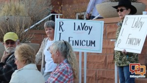 People gathered as the 5th District Courthouse in St. George to remember Arizona LaVoy Finicum who was killed in Oregon Tuesday, St. George Utah, Jan. 27, 2016 | Photo by Sheldon Demke, St. George News.