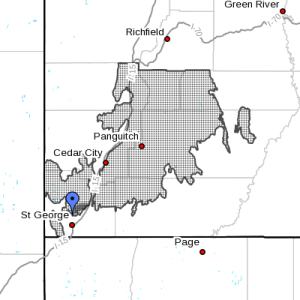 The shaded area indicates the area affected by the winter weather advisory, Southern Utah, Utah, Jan. 29, 2016, 9:30 a.m. | Image courtesy of the National Weather Service, St. George News