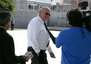 Hildale, Utah, Mayor Phillip Barlow, center, arrives at the Sandra Day O'Connor United States District Court where a federal civil rights trial against the polygamous towns of Hildale and Colorado City, Ariz., which are located on the Arizona-Utah border, is set to begin, Tuesday, Jan. 19, 2016, Phoenix, Arizona. | AP Photo by Ralph Freso, St. George News