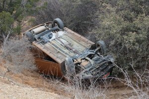 A rollover on Mills Lane in Toquerville resulted in the driver being taken into custody on a DUI charge, Toquerville, Utah, Jan. 30, 2016 | Photo by Photo Kessler, St. George News