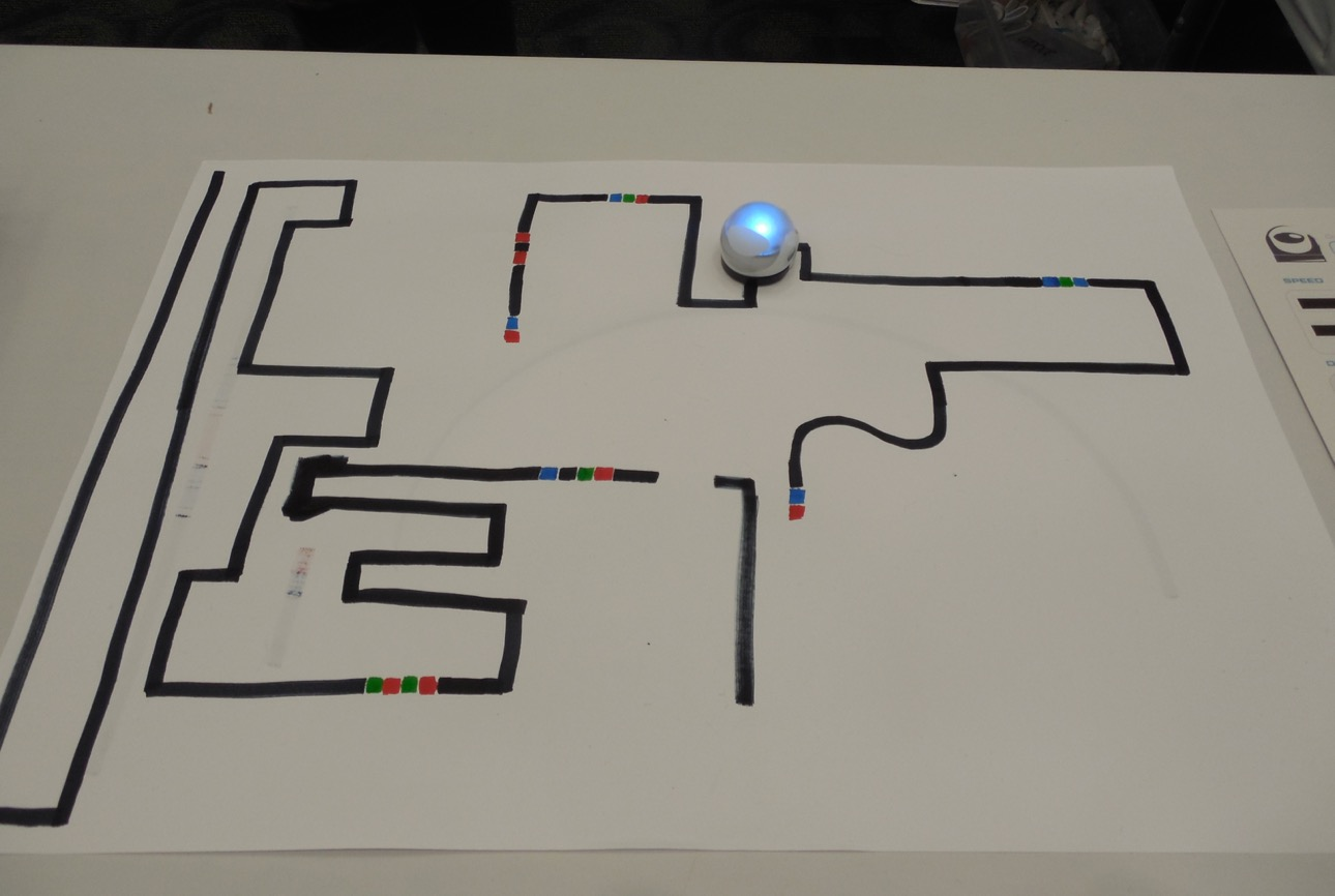 "Ozobot programmable robots can teach young children the basic concepts of computer science. Display at the ""What's Up Down South Economic Summit,"" Dixie Center St. George, St. George, Utah, Jan. 14, 2016 