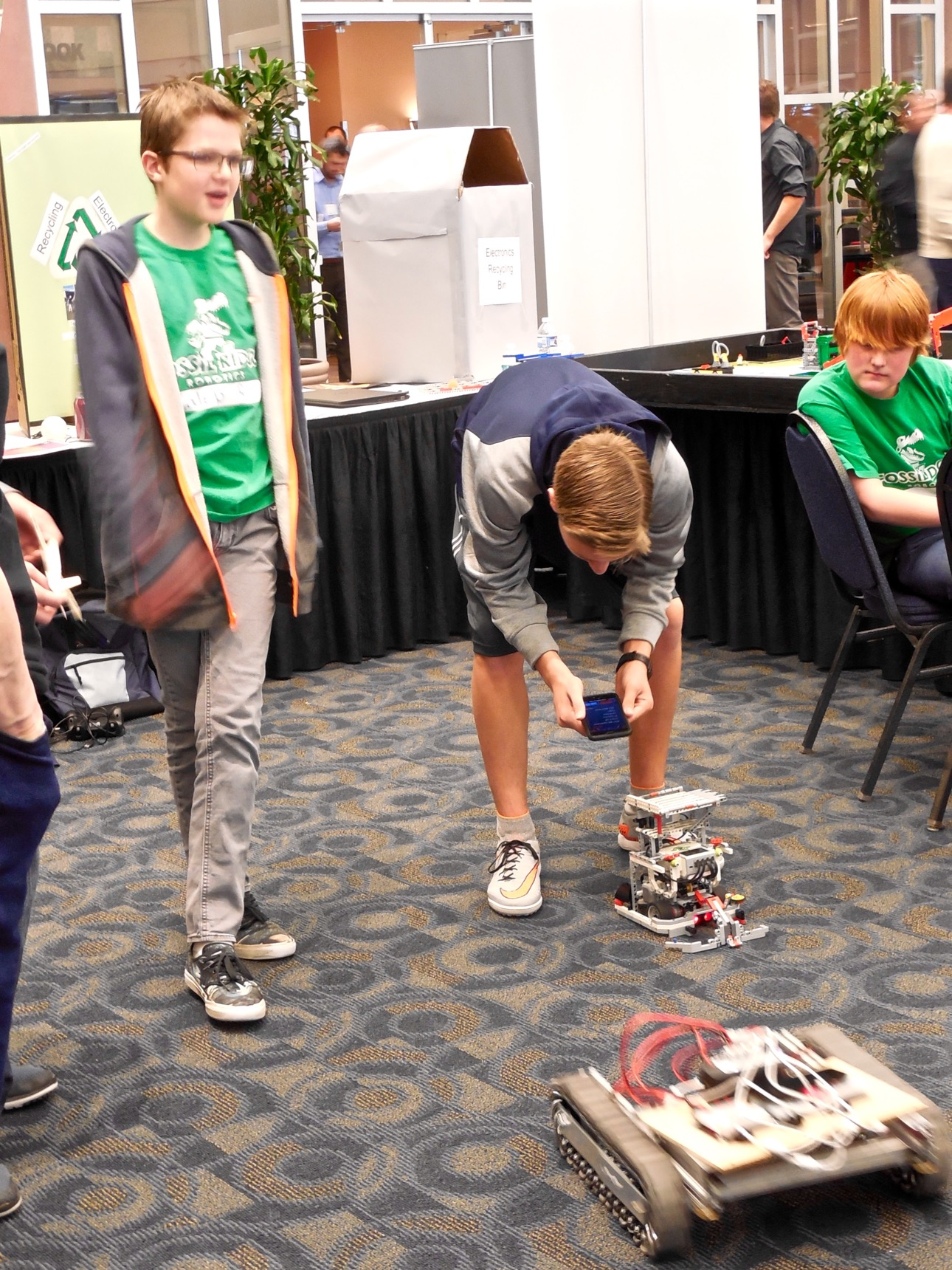 """4-H members control their robots on display at the """"What's Up Down South Economic Summit,"""" Dixie Center St. George, St. George, Utah, Jan. 14, 2016 