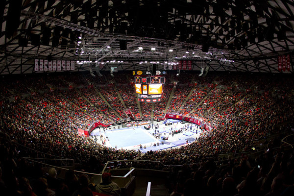 Utah gymnastics at the Huntsman Center. | Photo courtesy Utah Athletics