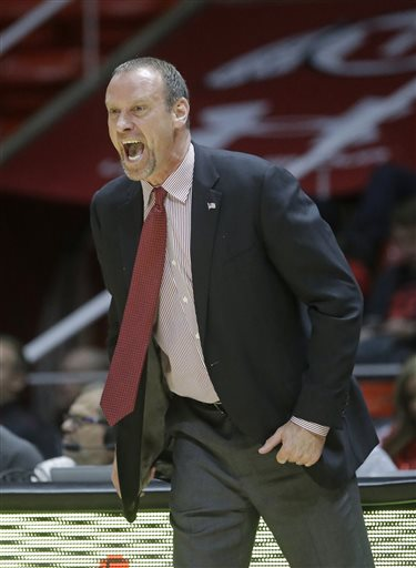 Utah head coach Larry Krystkowiak, Sunday, Jan. 17, 2016, in Salt Lake City. (AP Photo/Rick Bowmer)