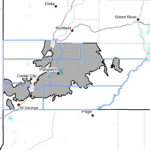 Dots indicate area affected by the winter weather advisory, Cedar City, Utah, Jan. 6, 2016, 1:45 p.m. | Image courtesy of the National Weather Service, St. George News