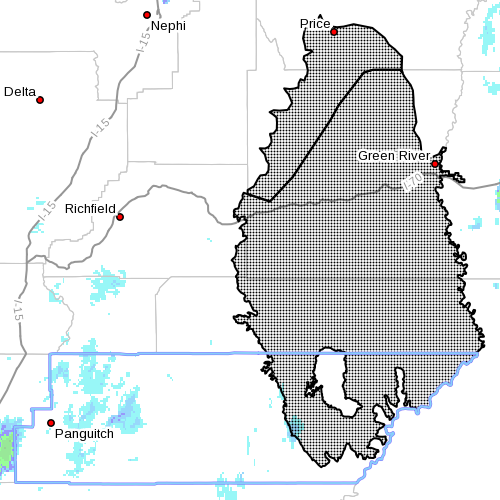 Dots indicate the area affected by the wind advisory, Jan. 24, 2016, 9:05 a.m. | Image courtesy of the National Weather Service, St. George News