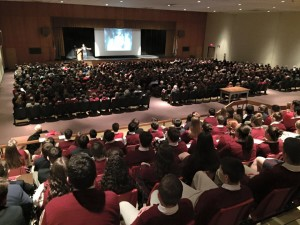 Marc Mero speaks to an auditorium full of Holy Redeemer High School students, Wilkes-barre, Pennsylvania, Feb. 9, 2016 | Photo Courtesy of Marc Mero, St. George News