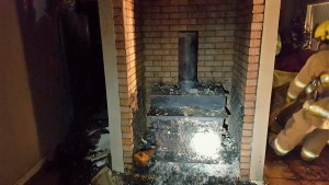 Wood burning stove and flue where fire originated from, Iviins, Utah, Feb. 6, 2016| Photo courtesy of Ivins Fire Chief Randy Hancey
