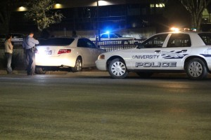 A single car wreck at 800 East and 100 South by Dixie State University Tuesday night resulted in the arrest of the driver for alleged DUI and running from police, among other offenses, St. George, Utah, Feb. 16, 2016   Photo by Mori Kessler, St. George News