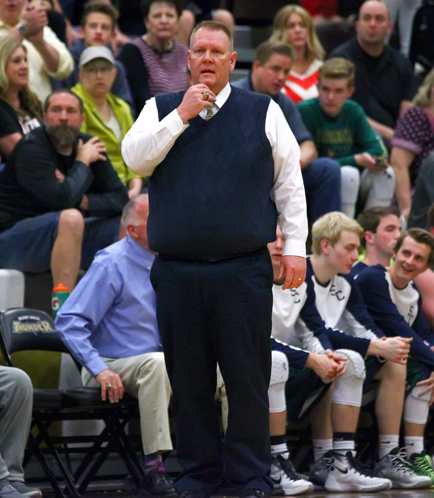 Snow Canyon head coach James Brown is coaching in his last season, Desert Hills vs. Snow Canyon, Boys Basketball, St. George, Utah, Feb. 12, 2016,   Photo by Robert Hoppie, ASPpix.com, St. George News
