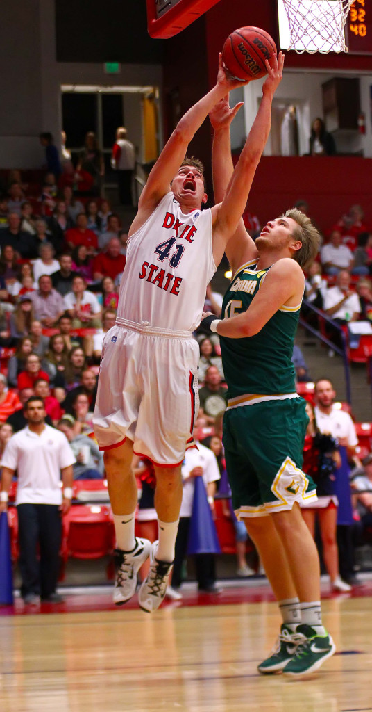 Dixie State's Josh Fuller (40), Dixie State University vs. Concordia University Irvine, Mens Basketball, St. George, Utah, Feb. 27, 2016, | Photo by Robert Hoppie, ASPpix.com, St. George News