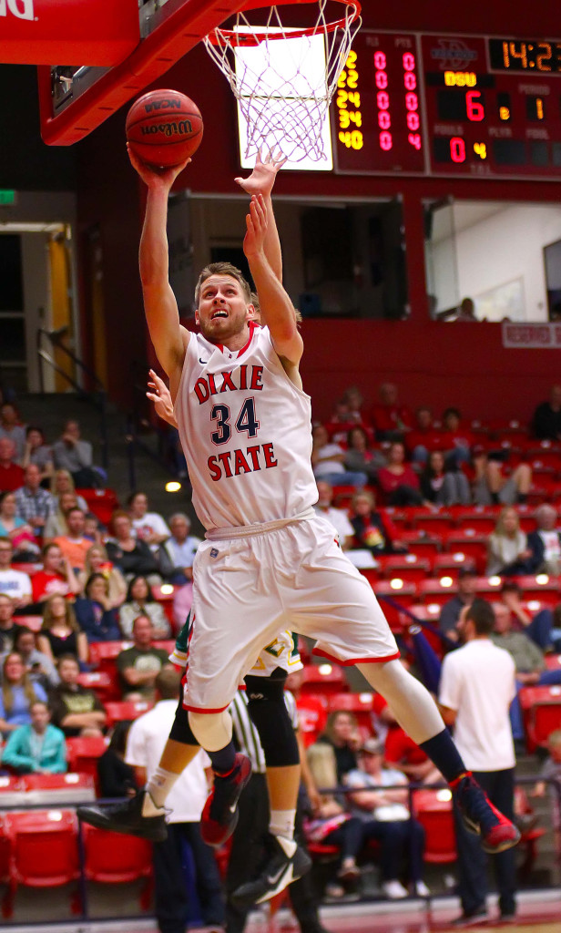 Dixie State's  Zac Hunter (34), Dixie State University vs. Concordia University Irvine, Mens Basketball, St. George, Utah, Feb. 27, 2016, | Photo by Robert Hoppie, ASPpix.com, St. George News