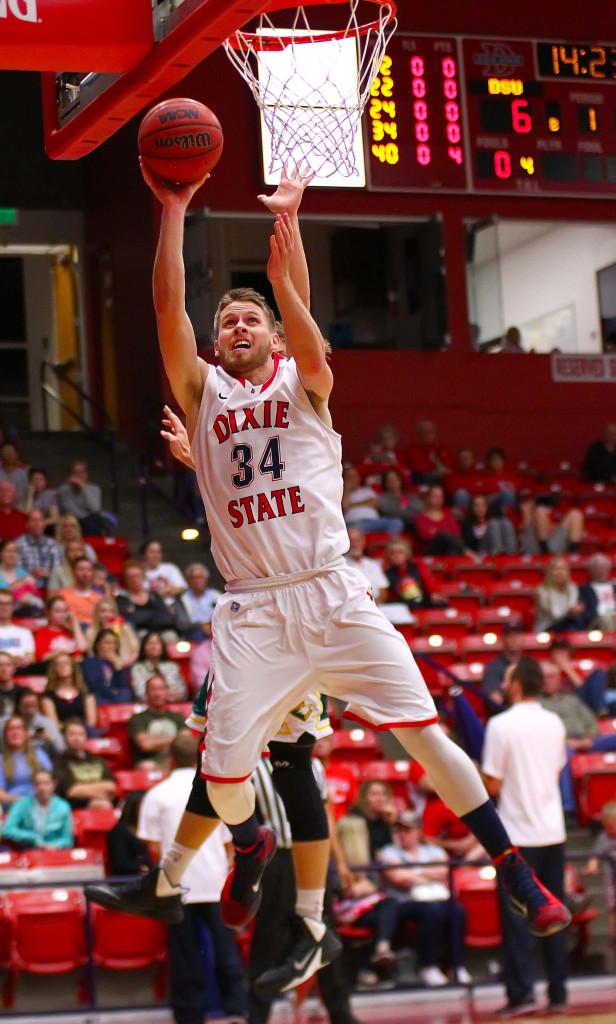 Dixie State's  Zac Hunter (34), Dixie State University vs. Concordia University Irvine, Mens Basketball, St. George, Utah, Feb. 27, 2016, | Photo by Robert Hoppie, ASPpix.com, St. George News