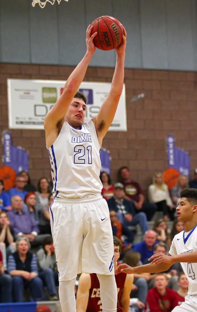 Dixie's Connor Dyches (21), Dixie vs. Cedar, Boys Basketball, St. George, Utah, Feb. 12, 2016,   Photo by Robert Hoppie, ASPpix.com, St. George News