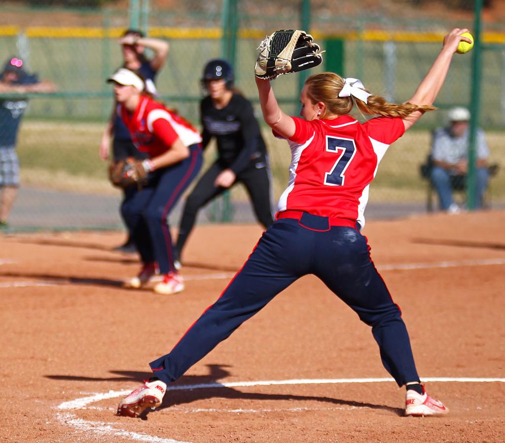 Dixie State's Aryn Feickert (7), Dixie State University vs. Western Washington University, Softball, St. George, Utah, Feb. 13, 2016, | Photo by Robert Hoppie, ASPpix.com, St. George News