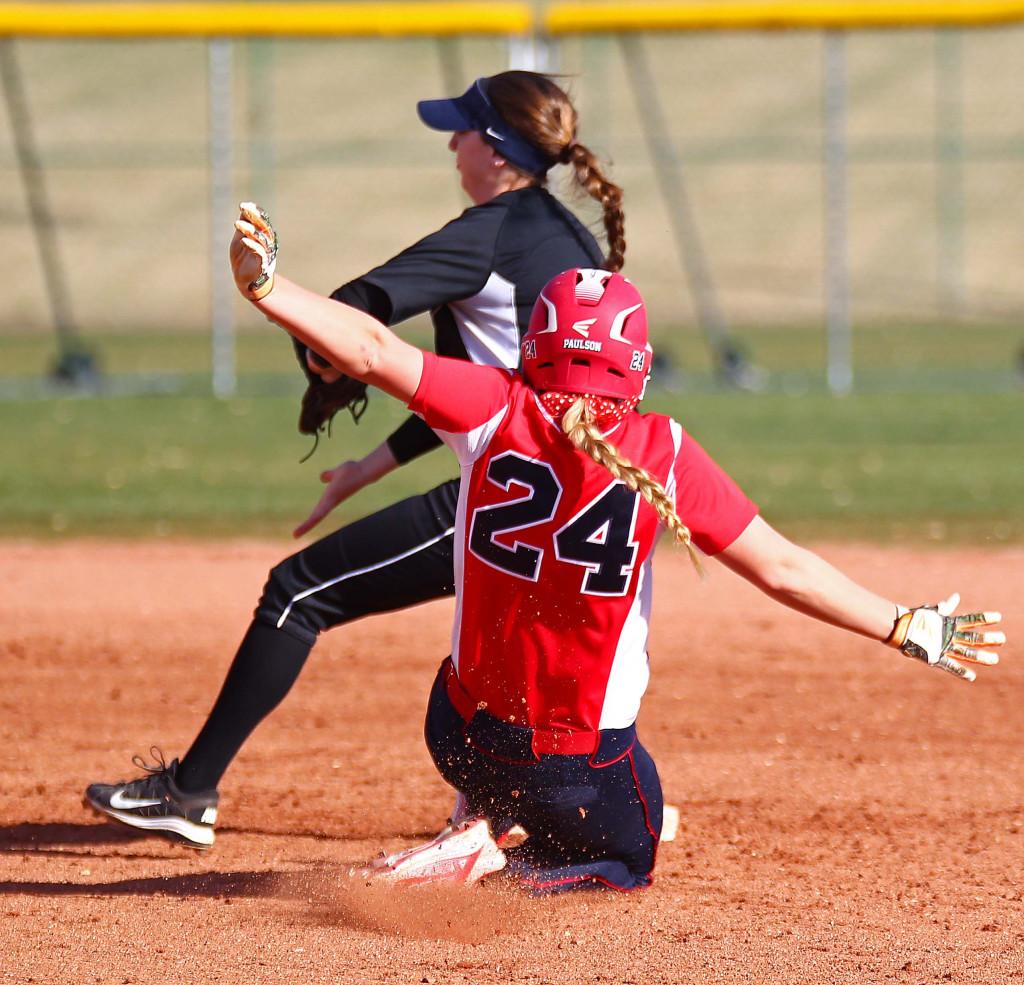 Dixie State's Mallory Paulson (24), Dixie State University vs. Western Washington University, Softball, St. George, Utah, Feb. 13, 2016, | Photo by Robert Hoppie, ASPpix.com, St. George News