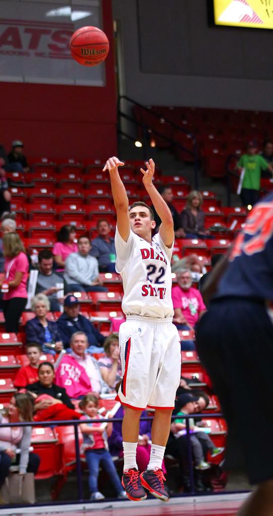 Dixie State's  Brandon Simister (22), file photo from Dixie State University, vs. Fresno Pacific University, Mens Basketball, St. George, Utah, Feb. 13, 2016, | Photo by Robert Hoppie, ASPpix.com, St. George News