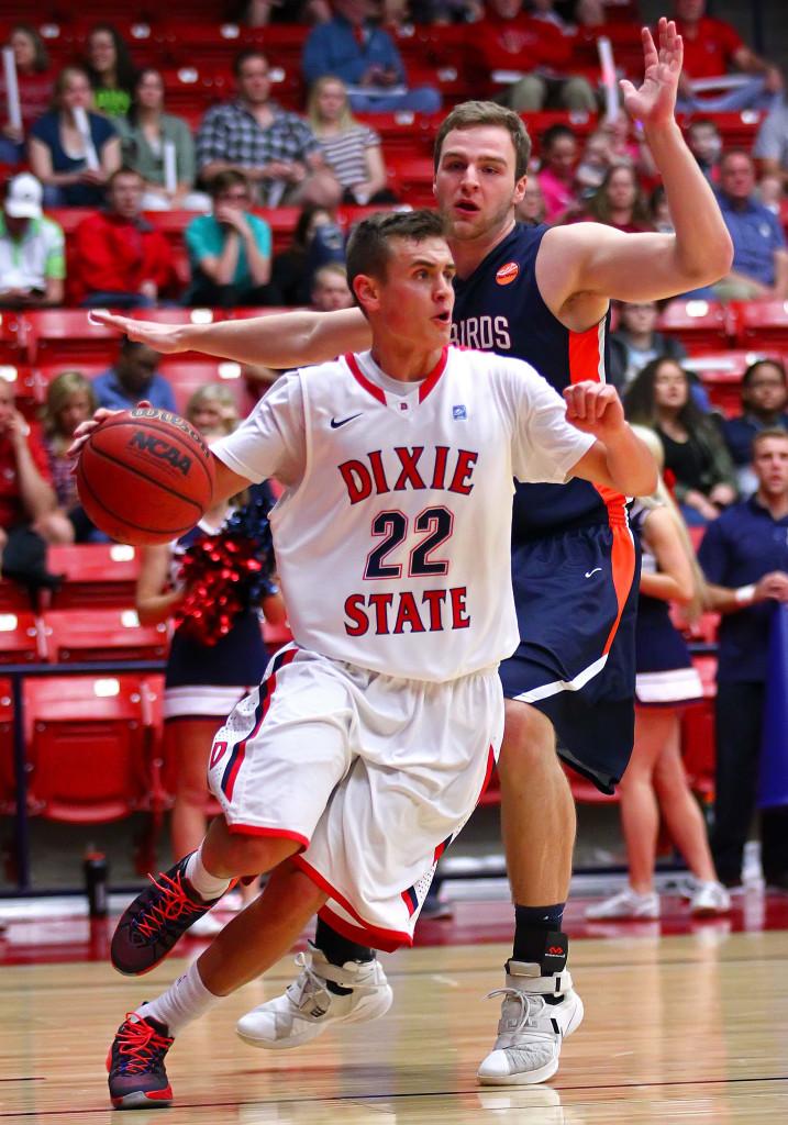 Brandon Simister (22), Dixie State University, vs. Fresno Pacific University, Mens Basketball, St. George, Utah, Feb. 13, 2016,   Photo by Robert Hoppie, ASPpix.com, St. George News