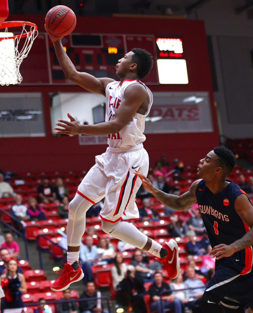 Dixie State's  Trevor Hill (24), Dixie State University, vs. Fresno Pacific University, Mens Basketball, St. George, Utah, Feb. 13, 2016, | Photo by Robert Hoppie, ASPpix.com, St. George News
