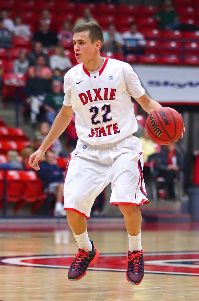 Dixie State's Brandon Simister (22), Dixie State University, vs. Holy Names University, Mens Basketball, St. George, Utah, Feb. 15, 2016, | Photo by Robert Hoppie, ASPpix.com, St. George News
