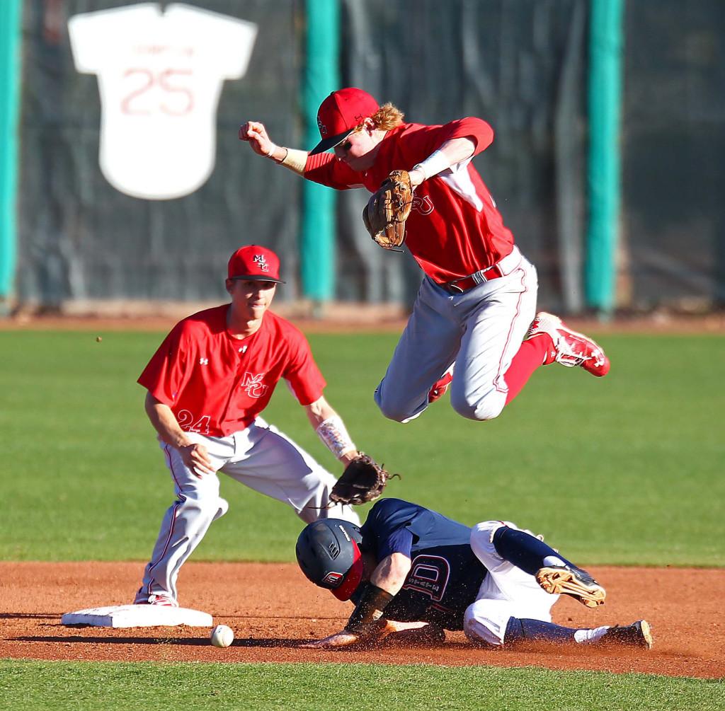 Dixie State's  Tanner Morache (7), Dixie State University, vs. Minot State University, Baseball, St. George, Utah, Feb. 19, 2016, | Photo by Robert Hoppie, ASPpix.com, St. George News