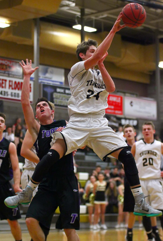 Desert Hills' Tanner Turley (24), Desert Hills vs. Tooele, Boys Basketball, St. George, Utah, Feb. 20, 2016, | Photo by Robert Hoppie, ASPpix.com, St. George News