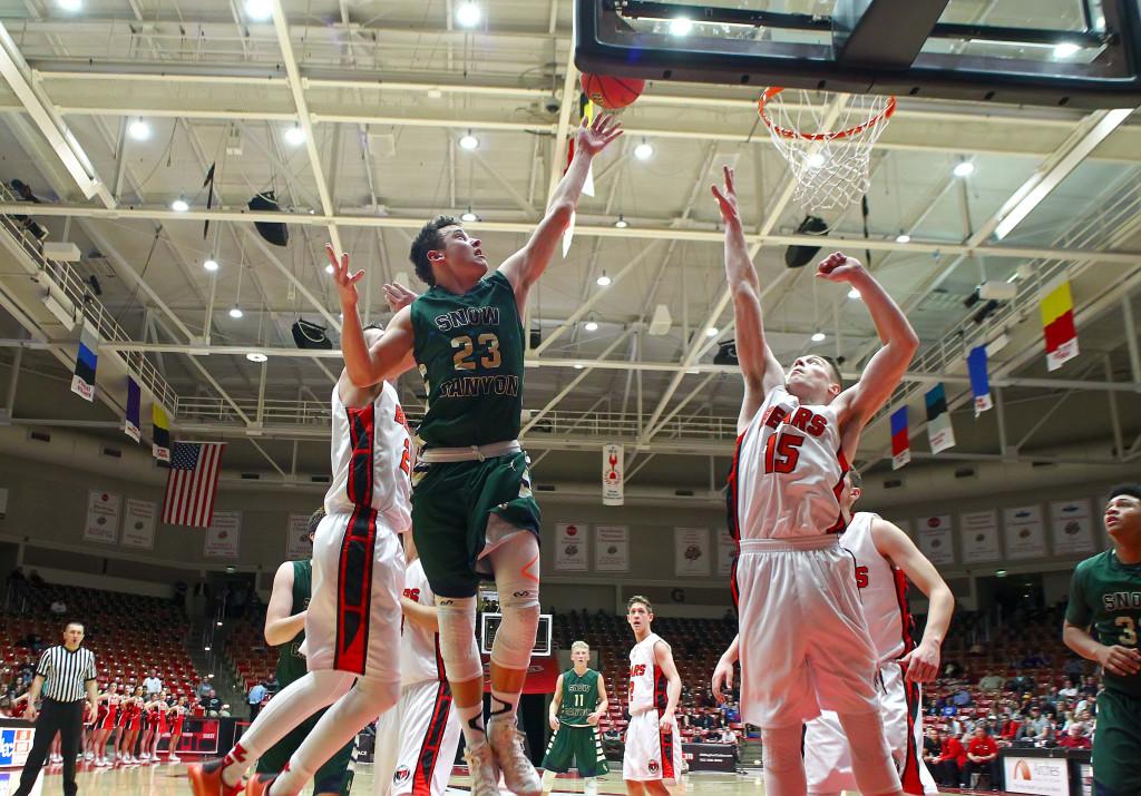 Snow Canyon's Hunter Barney (23), Snow Canyon vs. Bear River, 3A State Basketball Tournament, Boys Basketball, Cedar City, Utah, Feb. 25, 2016, | Photo by Robert Hoppie, ASPpix.com, St. George News