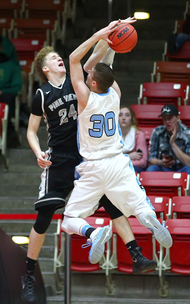 Canyon View's Brantzen Blackner (30) and Pine View's Dylan Hendrickson (24), Pine View vs. Canyon View, 3A State Basketball Tournament, Boys Basketball, Cedar City, Utah, Feb. 25, 2016, | Photo by Robert Hoppie, ASPpix.com, St. George News