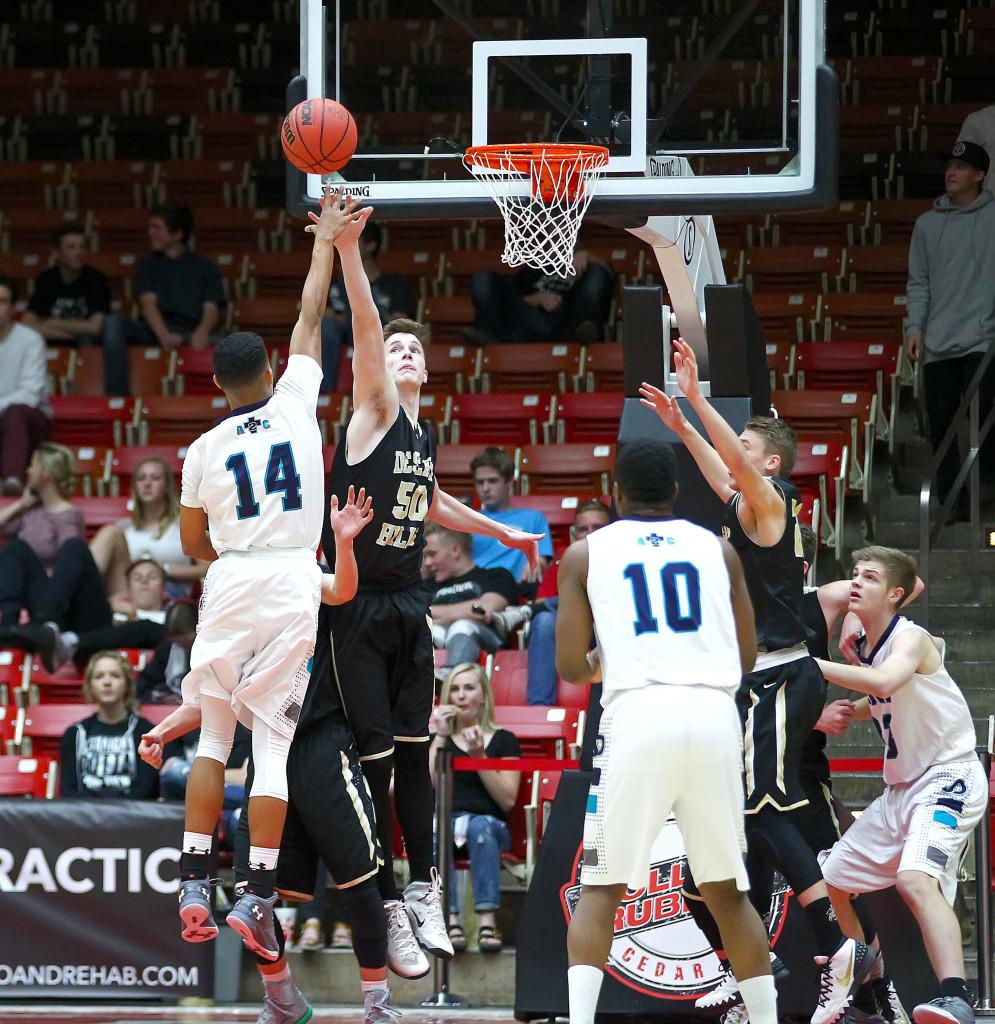 Desert Hills' Cody Fitzgerald (50), Desert Hills vs. Juan Diego, 3A State Basketball Tournament, Boys Basketball, Cedar City, Utah, Feb. 25, 2016,   Photo by Robert Hoppie, ASPpix.com, St. George News