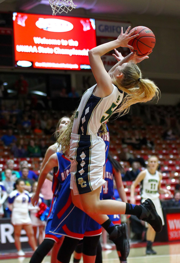 Snow Canyon's Shaylee Reed (5), Snow Canyon vs. Richfield, 3A State Basketball Tournament, Girls Basketball, Cedar City, Utah, Feb. 25, 2016, | Photo by Robert Hoppie, ASPpix.com, St. George News