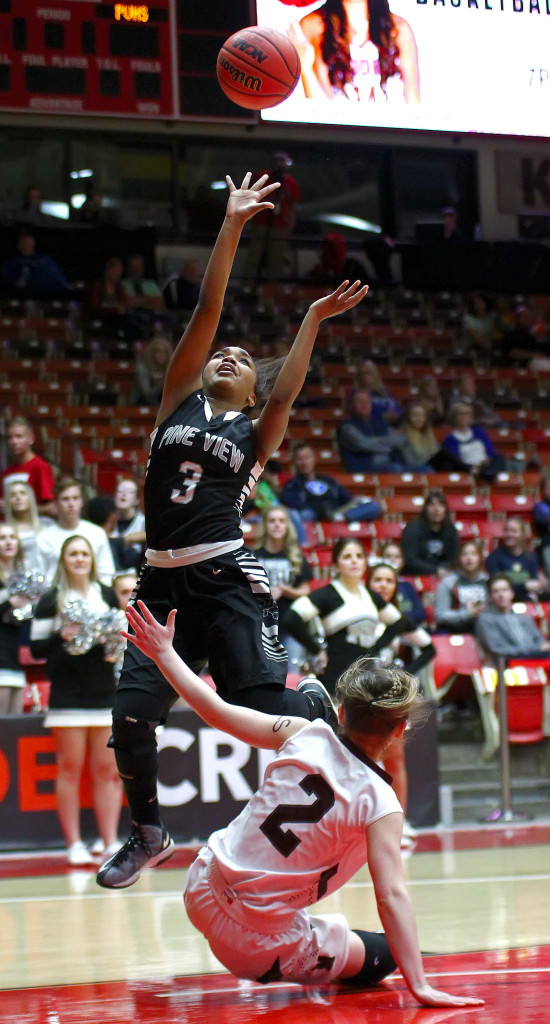 Pine View's  Saraven Allen (3), Pine View vs. Morgan, 3A State Basketball Tournament, Girls Basketball, Cedar City, Utah, Feb. 25, 2016, | Photo by Robert Hoppie, ASPpix.com, St. George News