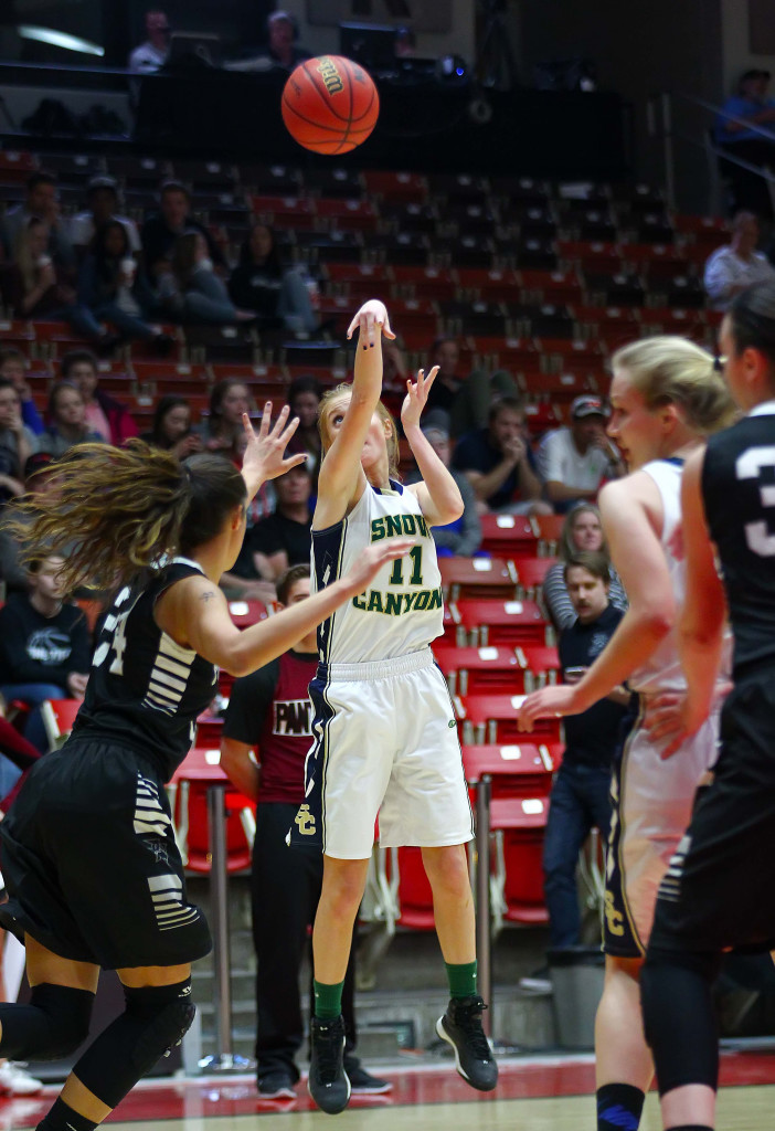 Snow Canyon's Nikenna Durante (11), Snow Canyon vs. Pine View, 3A State Basketball Tournament, Girls Basketball, Cedar City, Utah, Feb. 26, 2016, | Photo by Robert Hoppie, ASPpix.com, St. George News