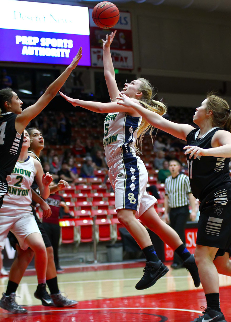 Snow Canyon's Shaylee Reed (5), Snow Canyon vs. Pine View, 3A State Basketball Tournament, Girls Basketball, Cedar City, Utah, Feb. 26, 2016, | Photo by Robert Hoppie, ASPpix.com, St. George News