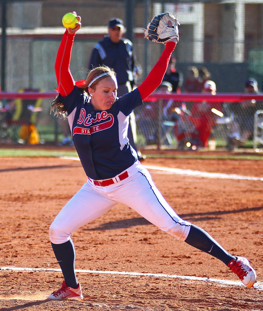 Dixie State's  Aryn Feickert (7), Dixie State University vs. Humboldt State University, Softball, St. George, Utah, Feb. 5, 2016,   Photo by Robert Hoppie, ASPpix.com, St. George News