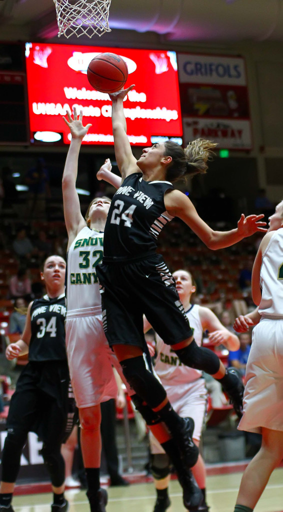 Pine View first-teamer Tayvia Ah Quin (24), file photo from Snow Canyon vs. Pine View, 3A State Basketball Tournament, Cedar City, Utah, Feb. 26, 2016, | Photo by Robert Hoppie, ASPpix.com, St. George News