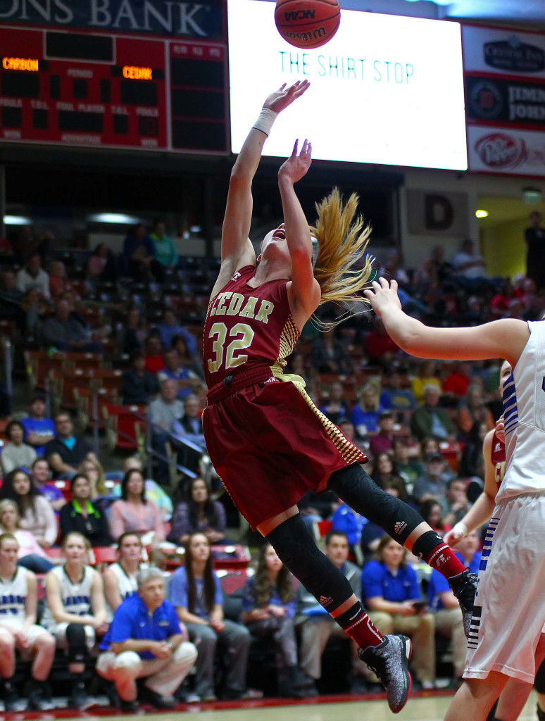 Cedar's  Morgan Myers (32), Cedar vs. Carbon, 3A State Basketball Tournament, Girls Basketball, Cedar City, Utah, Feb. 26, 2016, | Photo by Robert Hoppie, ASPpix.com, St. George News