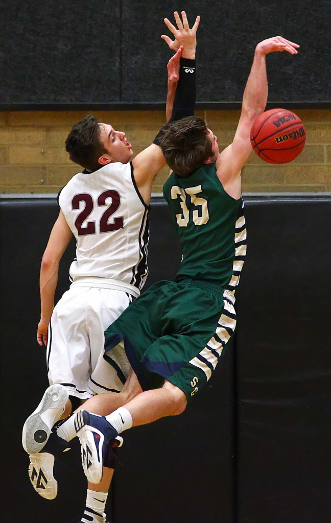 Pine View's Cody Ruesch (22) and Snow Canyon's Teagan Mendenhall (35), Pine View vs. Snow Canyon, Boys Basketball, St. George, Utah, Feb. 5, 2016, | Photo by Robert Hoppie, ASPpix.com, St. George News