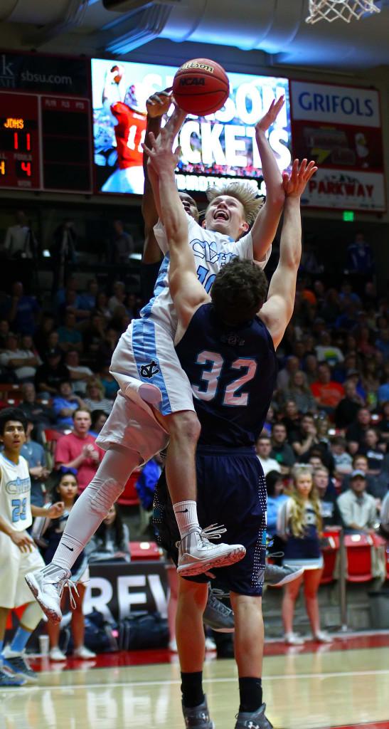 Canyon View's Jacob Carrington (10), Canyon View vs. Juan Diego, 3A State Basketball Tournament, Boys Basketball, Cedar City, Utah, Feb. 26, 2016, | Photo by Robert Hoppie, ASPpix.com, St. George News