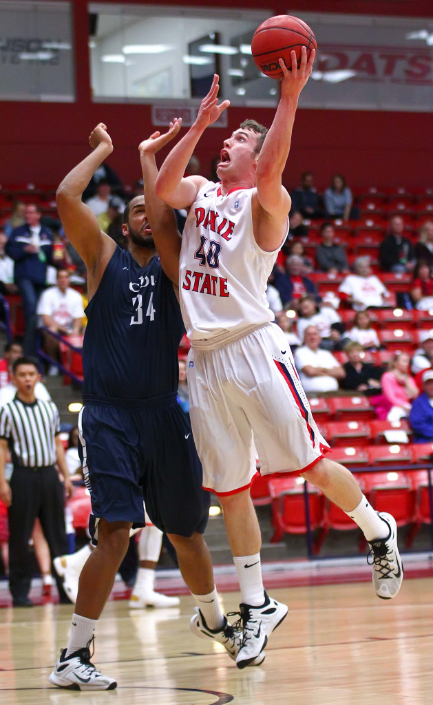 Dixie State's  Josh Fuller (40), Dixie State University vs. California Baptist University, Mens Basketball, St. George, Utah, Feb. 6, 2016, | Photo by Robert Hoppie, ASPpix.com, St. George News