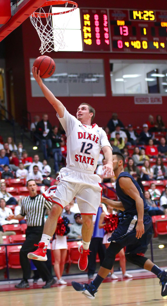 Dixie State's  Mason Sawyer (12), Dixie State University vs. California Baptist University, Mens Basketball, St. George, Utah, Feb. 6, 2016, | Photo by Robert Hoppie, ASPpix.com, St. George News