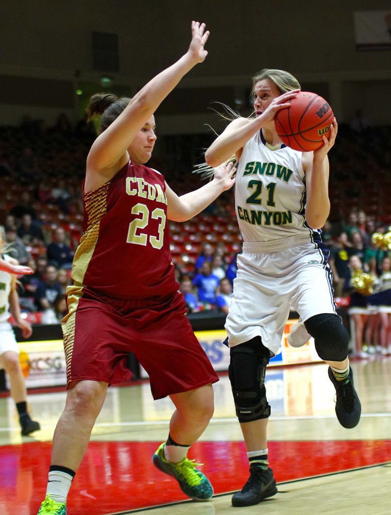 Snow Canyon's Madison Mooring (21) and Cedar's Courtney Morley (23) were both selected as first-teamers, file photo from Snow Canyon vs. Cedar, 3A State Basketball Tournament, Girls Basketball, Cedar City, Utah, Feb. 27, 2016, | Photo by Robert Hoppie, ASPpix.com, St. George News