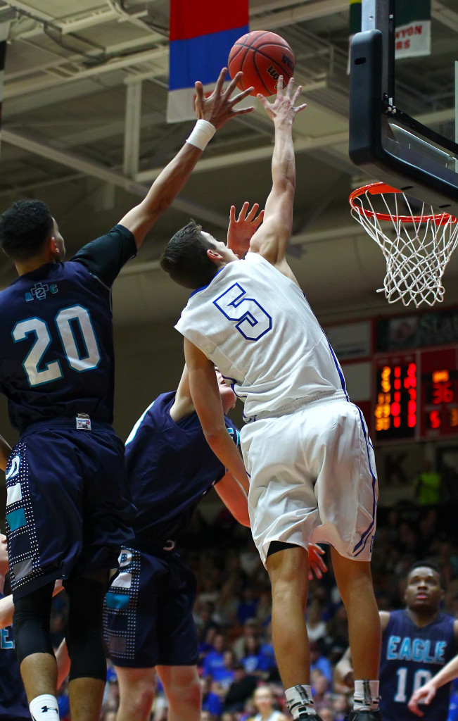 Dixie's  Tyler Bennett (5), Dixie vs. Juan Diego, 3A State Basketball Tournament, Boys Basketball, Cedar City, Utah, Feb. 27, 2016, | Photo by Robert Hoppie, ASPpix.com, St. George News