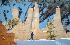 A cross-country skier enjoys stunning winter landscapes in Bryce Canyon, Utah, date not specified | Photo courtesy of Ruby's Inn, St. George News