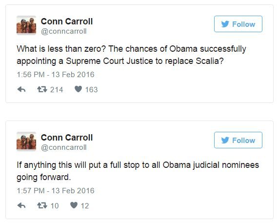 Screenshot of tweet by Conn Carroll Feb. 13, 2016 | Screenshot by Ed Kociela, St. George News